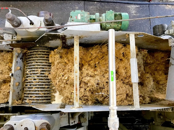 7. Detail of the first-crush bagasse (sugarcane pulp) as it is being crushed into finer bits bu the grooved steel rollers