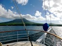 Sailing toward Nevis, the adventure begins.