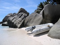 Beached at Curieuse Island, Seychelles